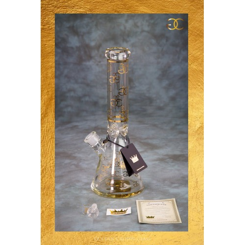 "The 24K Gold Emblem Waterpipe 14"" by GOLDEN CROWN"